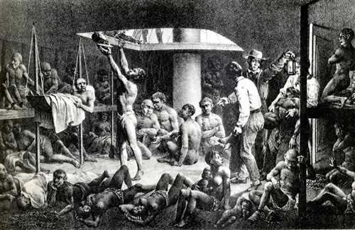 Africans packed in a slave ship